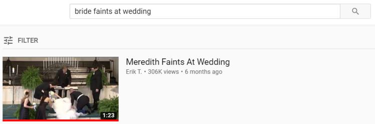 bridefaintsatwedding